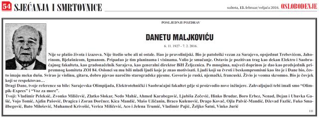 Dane Maljković osmrtnica